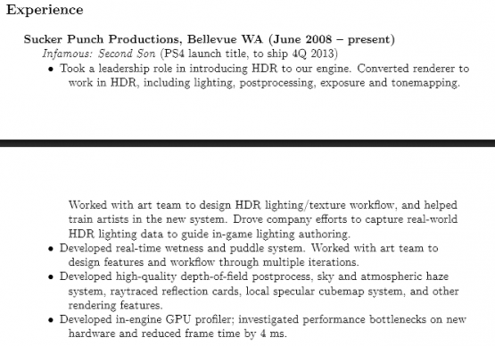 infamous second listed on resume as quot ps4 launch title