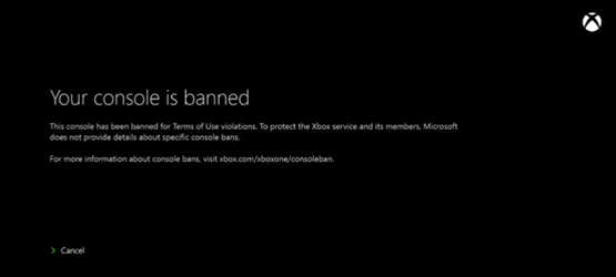 Xbox One Banned