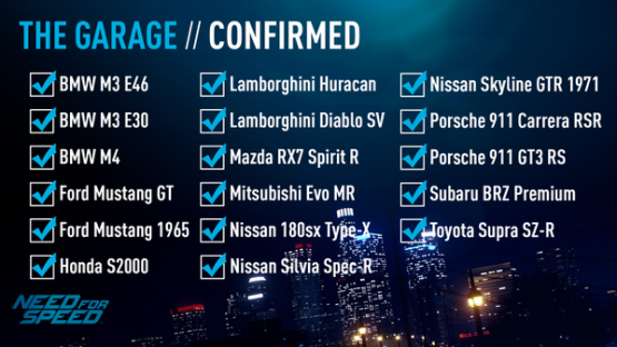 Curious What Cars Will Be In The Upcoming Need For Speed Reboot Look No Further As Car List Has Been Revealed Partially At Least