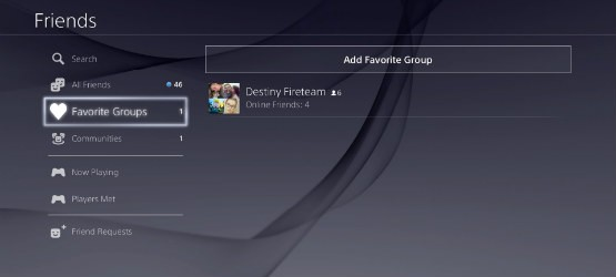 Favorite groups ps4 update 3.00