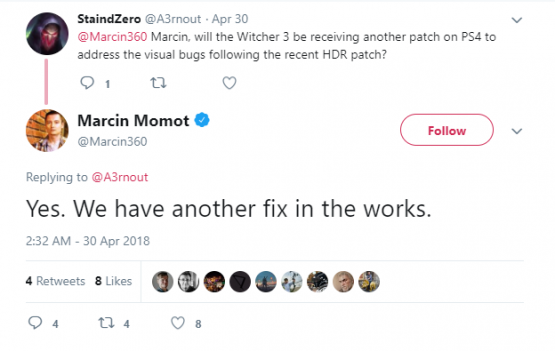 witcher 3 hdr support bug tweet