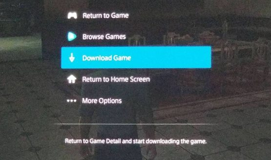 PlayStation Now Download Game option