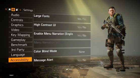 The Division 2 Gameplay Includes a Wealth of Accessibility Options