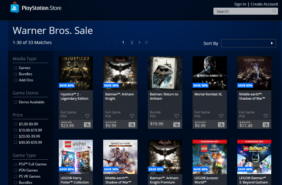 WB Games Publisher Sale On PSN