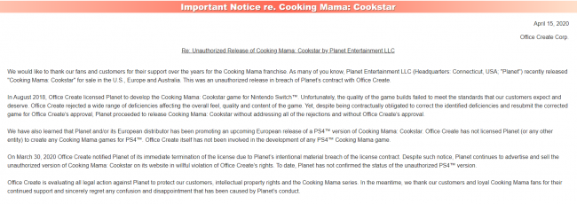 cooking mama lawsuit