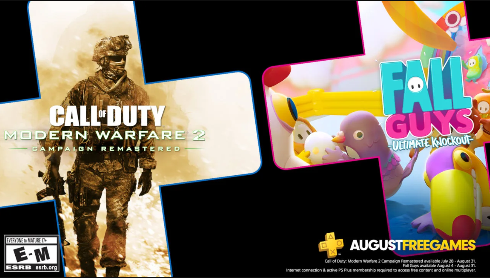 august 2020 ps plus free games fall guys modern warfare 2