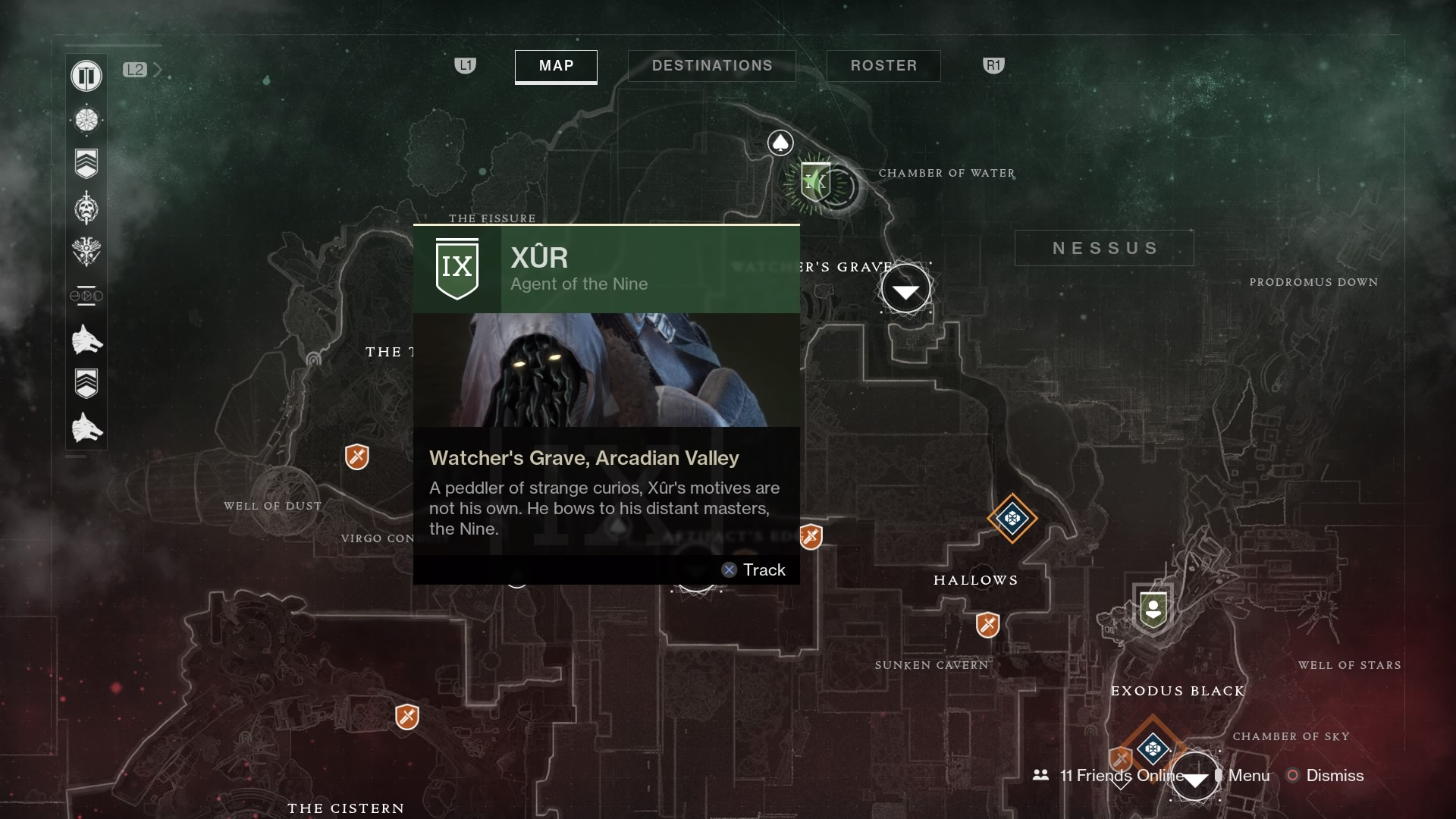 Destiny 2 Xur Map Nessus