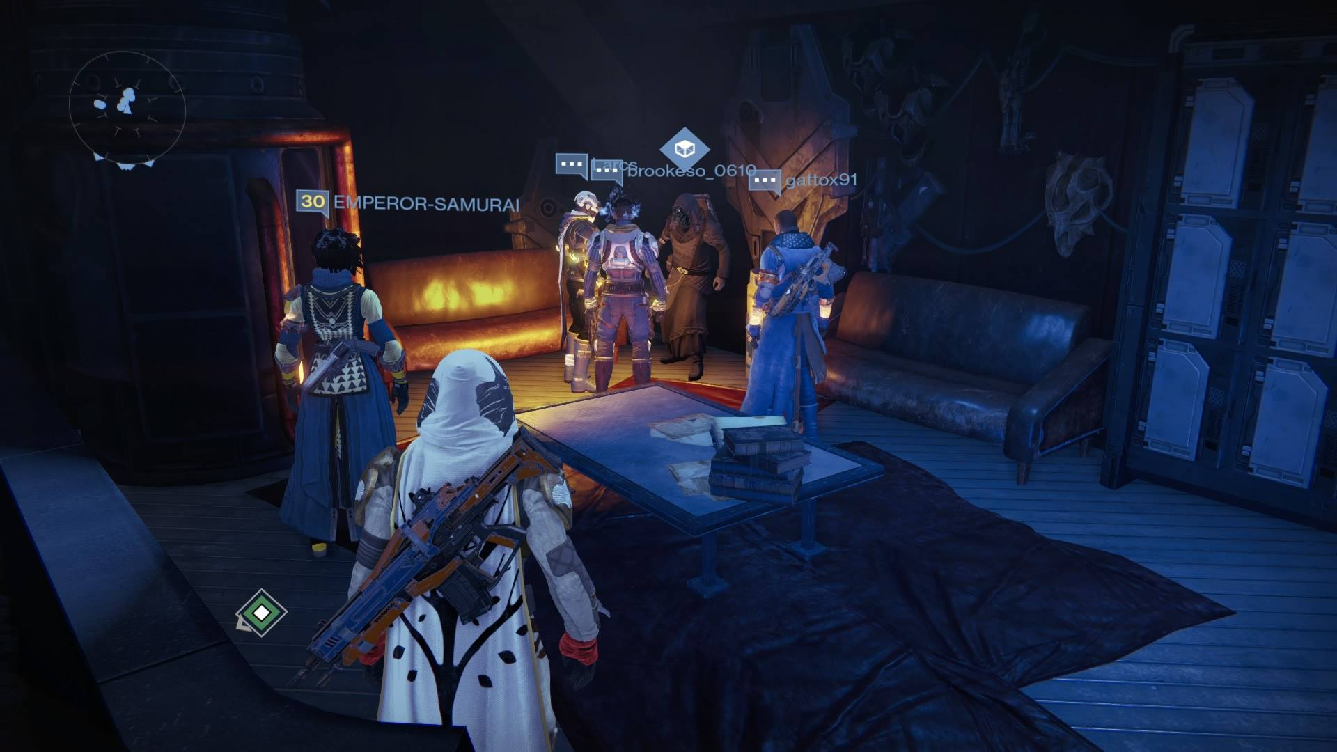 Xur – Agent of the Nine can be found in the Tower Hangar Lounge
