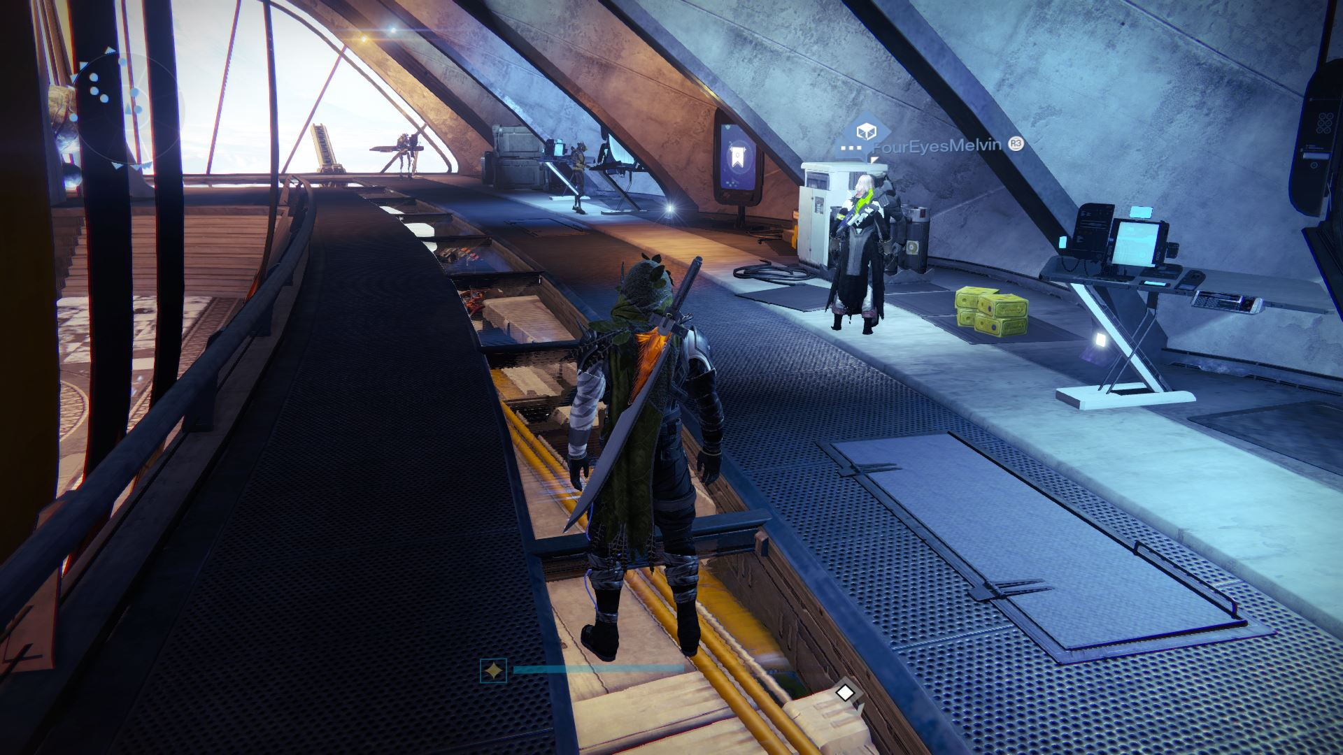 For this week, Xur – Agent of the Nine can be found near the Vanguards and Exotic Blueprints.